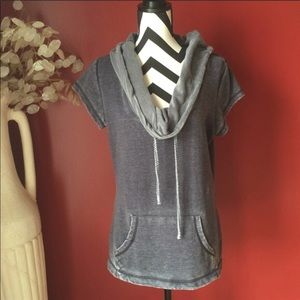 Tops - Bluish gray short sleeve cowl neck top